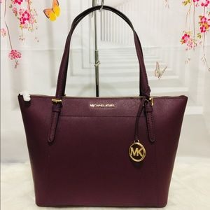 Michael Kors  Merlot Large Tote Bag Zip closure